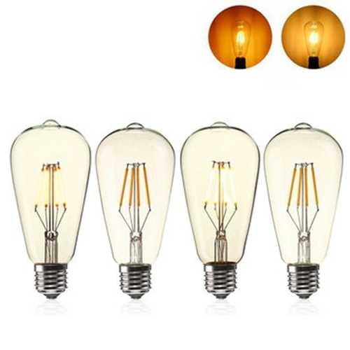 E27 ST64 4W Clear Cover Dimmable Edison Retro Vintage Filament COB LED Bulb Light Lamp AC110/220V