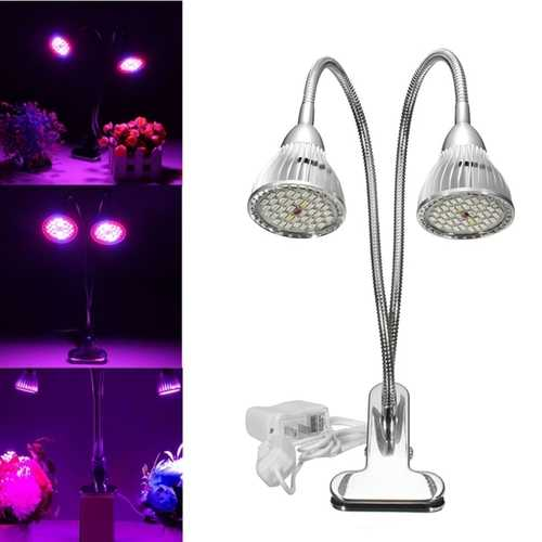 15W Flexible Clip-on Hydroponics Plant LED Dual Grow Light Full Spectrum Flower Lamp
