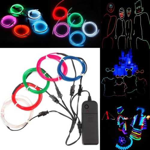 ARILUX Battery Powered 5PCS 1M Multicolor DIY Glow EL Wire Strip Light for Halloween Christmas DC3V