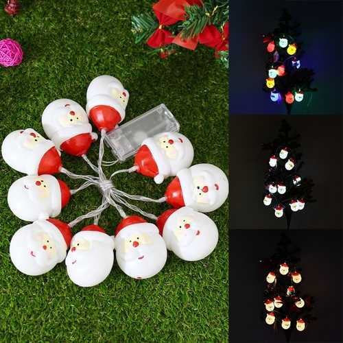 Battery Powered 1.2M 10LEDs Santa Claus Fairy String Light for Christmas Tree Party Patio