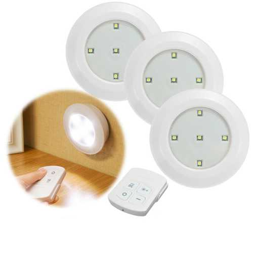 3pcs Wireless Remote Control LED Night Lights Battery Operated Stick-on Cabinet Closet Lamps