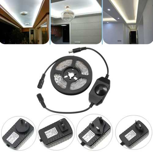 DC12V 4M SMD2835 24W Pure White Non-waterproof LED Strip Light with Dimmer Switch Power Supply