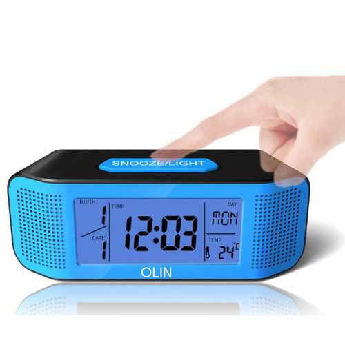 OLIN Sound Control Sensing Electronic LCD Alarm Clock with Snooze Multi-function Digital Clock with Calendar Temperature Display