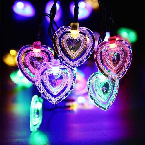 Solar Power 8 Modes 20 LED Heart Shape String Light Outdoor Garden Wedding Party Holiday Decor Lamp
