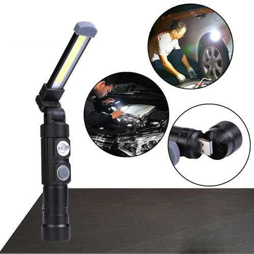 XANES W549 LED+COB 5Modes 360+180 Foldable Head Magnetic Tail USB Rechargeable Flashlight Work Light