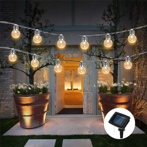 3.8M Solar Powered 10 LED Pineapple Hanging Bulb String Light Christmas Outdoor Party Patio Decor