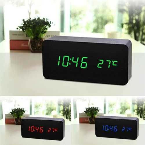 Wooden Sound Control LED Creative Alarm Clock Digital Time Temperature Display