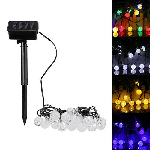 Solar Powered 20 LED Ball Fairy String Light Christmas Party Outdoor Garden Patio Decorative Lamp